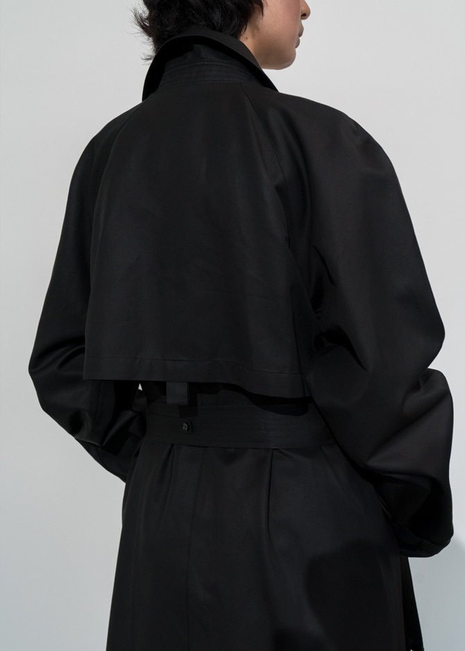 917 Double Breasted Trench Coat (Black)