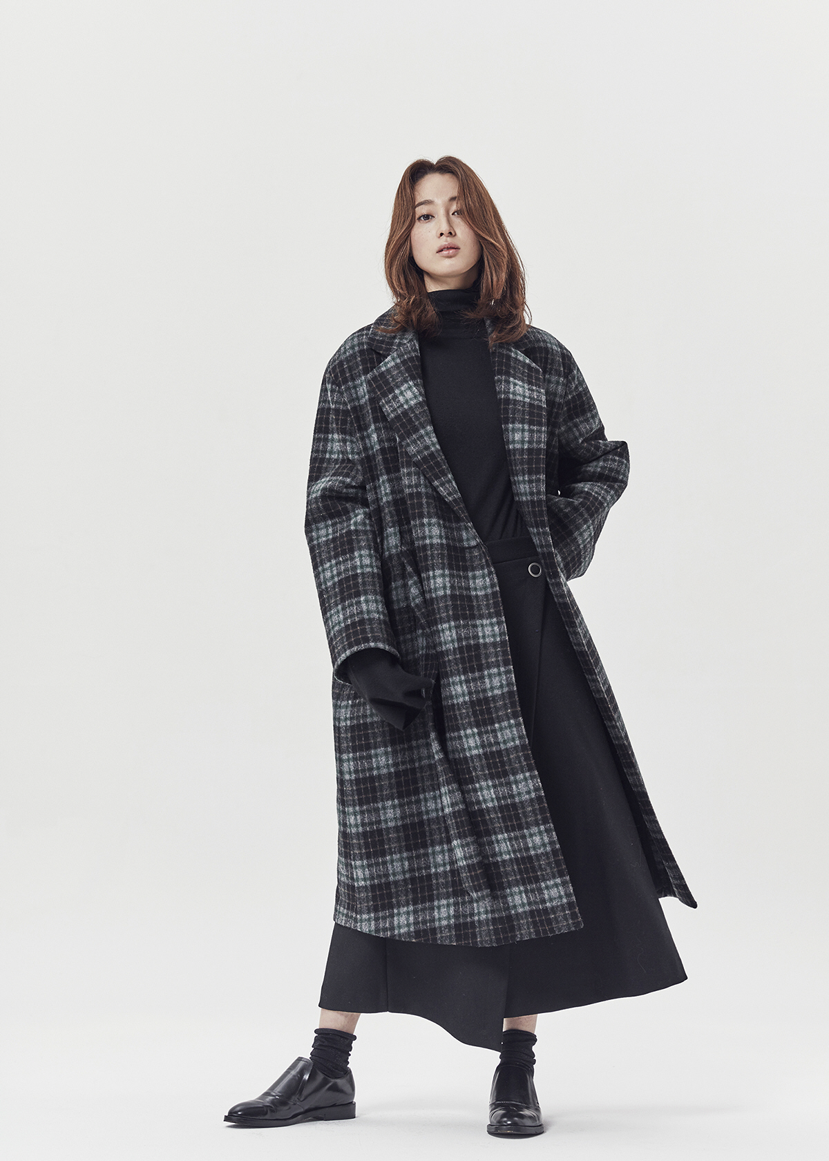 917 Belted check coat
