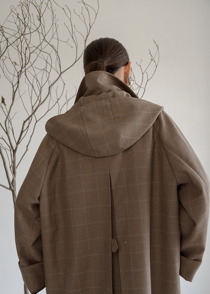 917 Hooded Check Coat