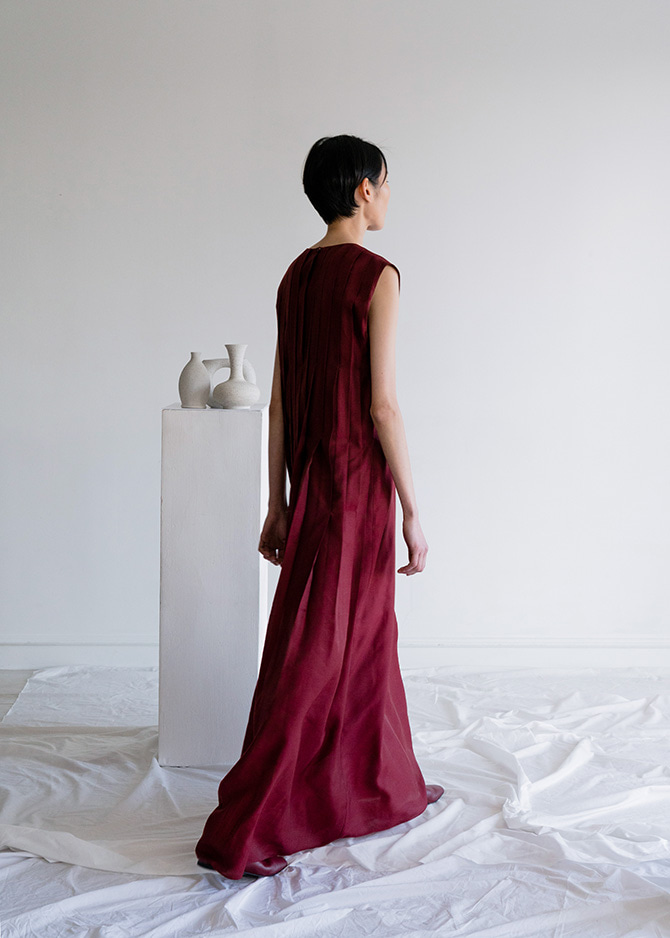 917  Burgundy Pleated Dress