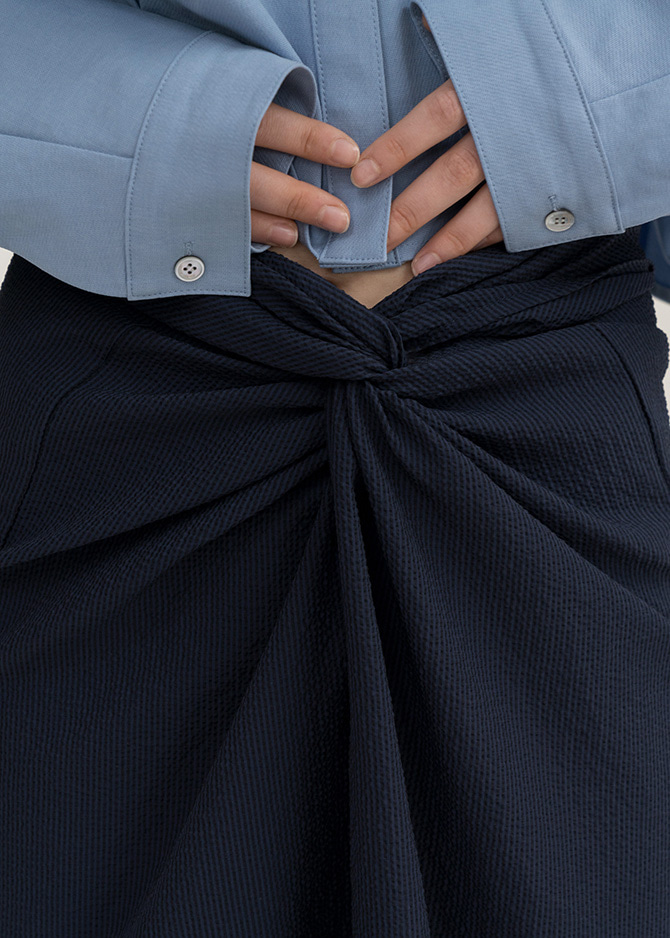 917 Navy Twist Skirt