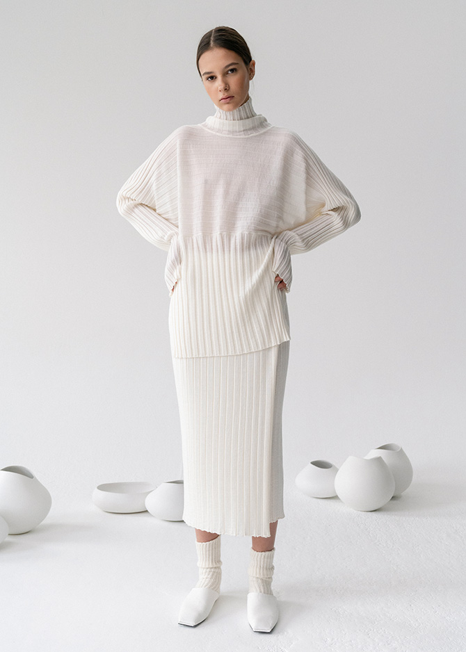 917 Wool Ribbed Turtleneck/SKirt_made of Extra fine wool(3주소요)